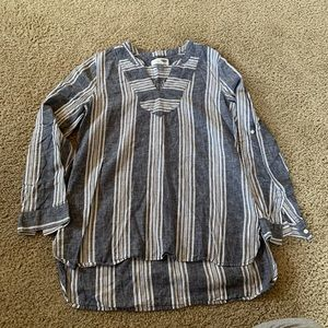Old Navy linen/cotton hi-low tunic w/ striping.